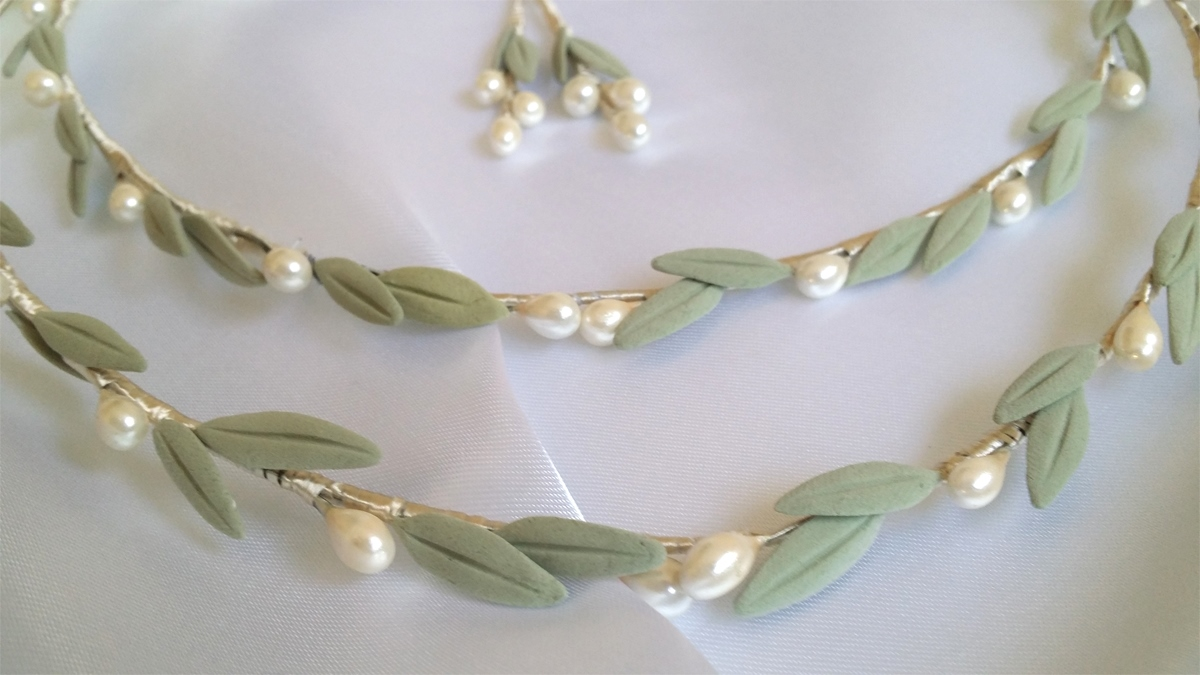 Greek wedding stefana crowns with olive leaves S4
