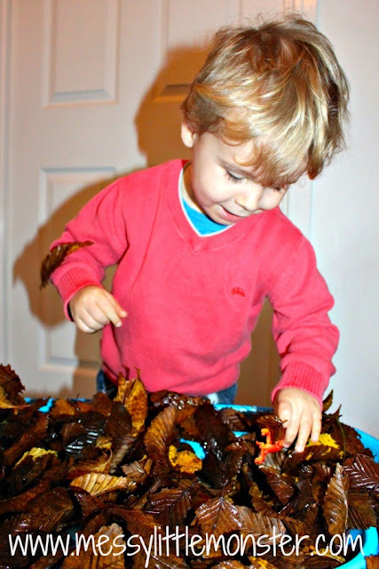 dinosaur hunt in autumn leaves activity idea for toddlers and preschoolers