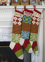 Long, classic chic, modern knitted Christmas stocking
