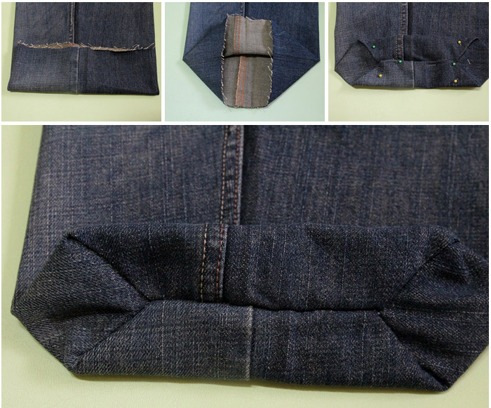 How to sew a small bag of denim old jeans.  DIY step-by-step tutorial. Как сшить сумочку  из джинс