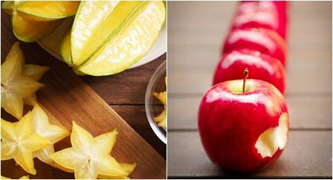 Buah belimbing dan apel merah untuk dibuat mix jus