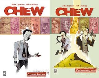 """John Layman (scen.), Rob Guillory (rys.), """"Chew 1: Przysmak konesera"""" i """"Chew 2: Międzynarodowy smak"""""""