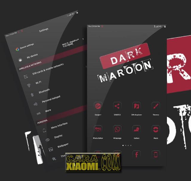 Top Best Lite MIUI Theme Dark Maroon Update Mtz [Size Kecil Merubah Banyak Tampilan Aplikasi]