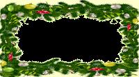 16x9_Christmas_Frame Grinalda e bege_tansparente PNG