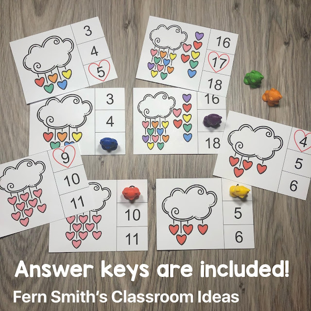 St. Valentine's Day Counting Clip Cards and Worksheet Freebies #FernSmithsClassroomIdeas