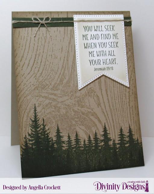 Divinity Designs LLC: Seek Me, Wood Background, Large Banners Dies; Card Designer Angie Crockett