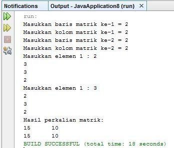 meminta data dua buah matriks