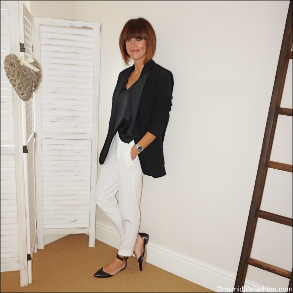 my midlife fashion, Isabel Marant boyfriend blazer, marks and Spencer pure silk vest top, marks and Spencer off white trousers, Isabel Marant Etoile leather flats