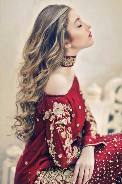 Off shoulder red wedding dress