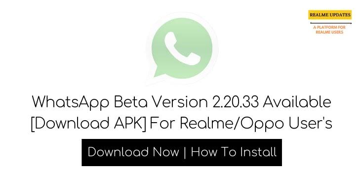 WhatsApp Beta Version 2.20.33 Dark Mode Available [Download APK] - Realme Updates