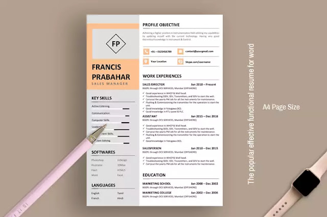 The popular effective functional resume for word