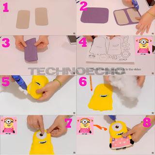 cara membuat sarung hp dari kain flanel