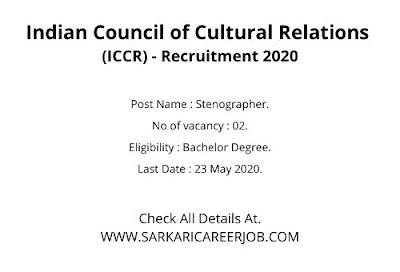 ICCR Recruitment 2020 Apply Online   02 Posts latest Govt Vacancy 2020.