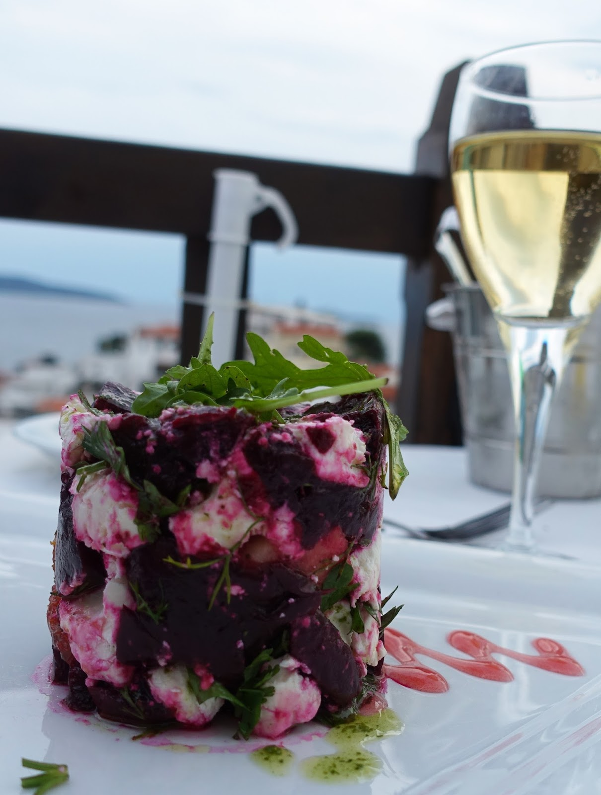 A mini artwork: beetroot stack starter from The Windmill Restaurant, Skiathos