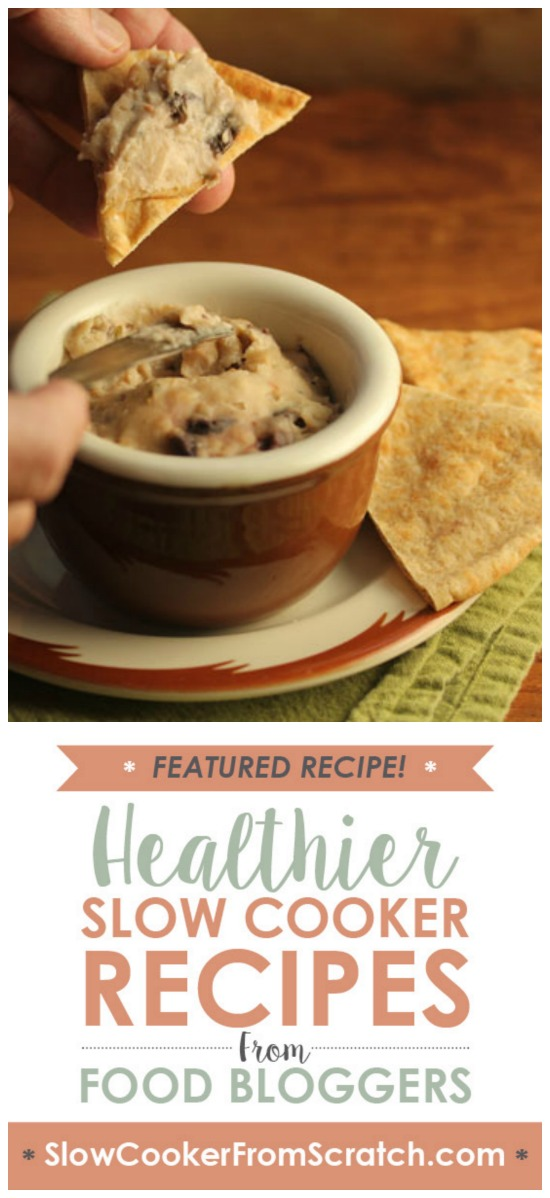 Slow Cooker White Bean, Garlic, and Olive Dip or Spread from The Perfect Pantry found on SlowCookerFromScratch.com