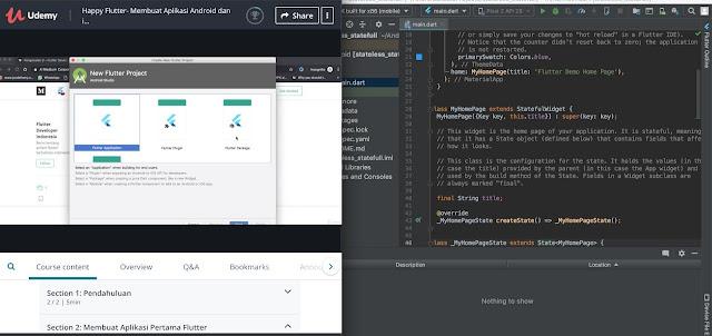 """kursus Udemy yang berjudul """"Happy Flutter - Membuat Aplikasi Android dan iOS Jadi Gampang"""""""