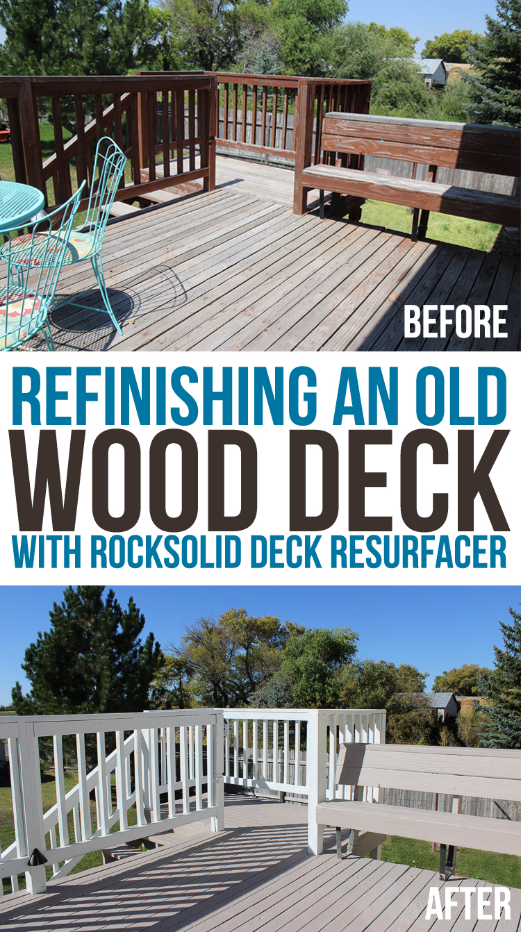 This old wooden deck got an amazing makeover! How to refinish a weathered wood deck.
