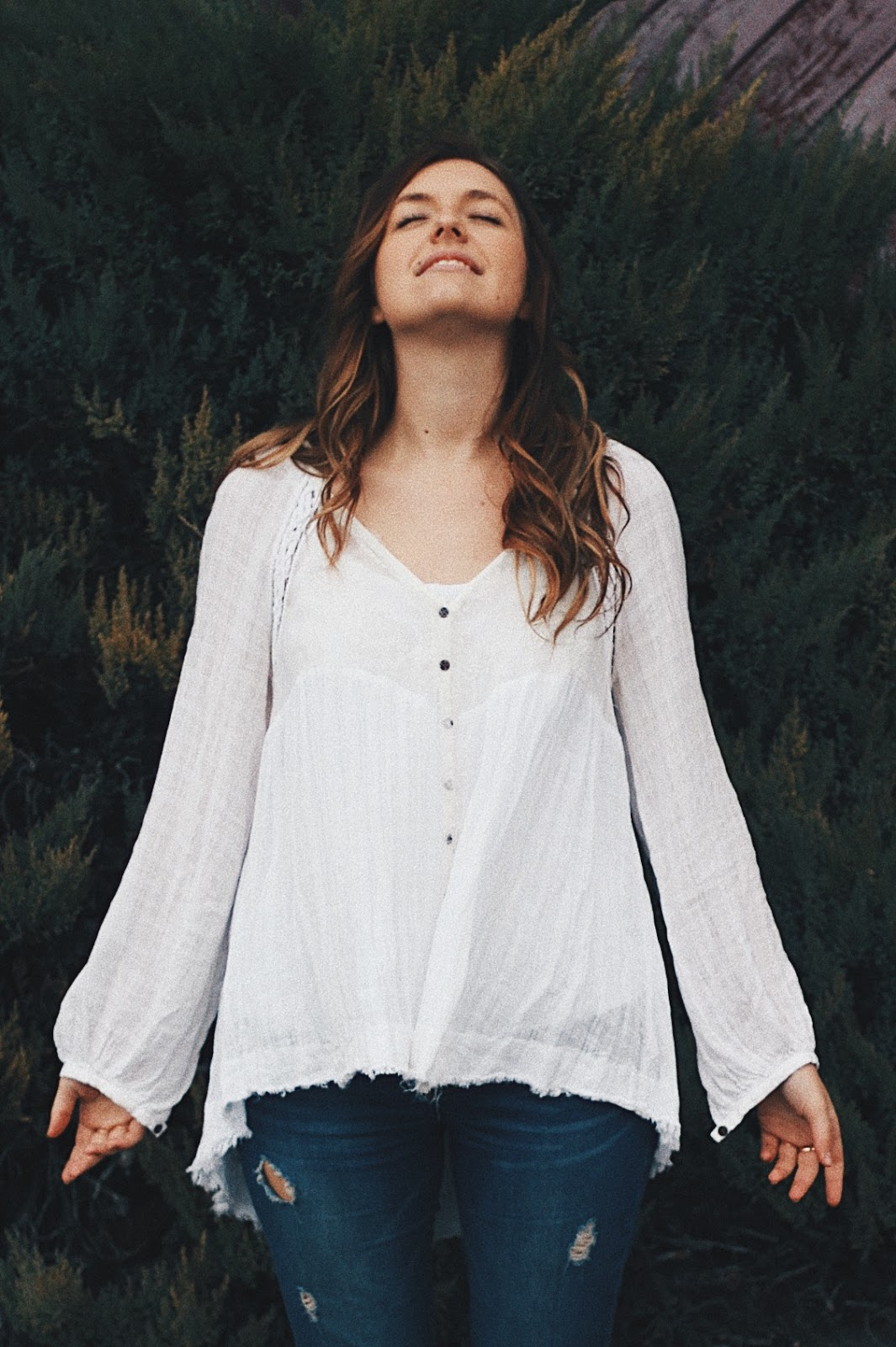 free people white peasant blouse