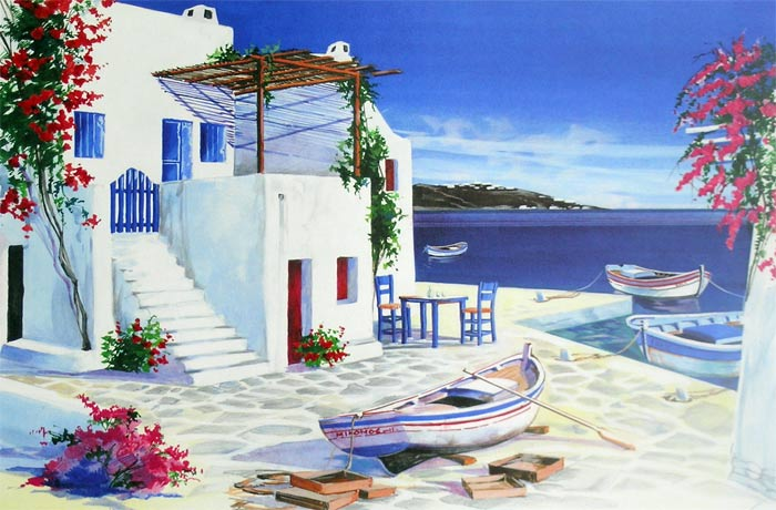 André Savy | French Landscape painter | Santorini Walkway - Greek islands