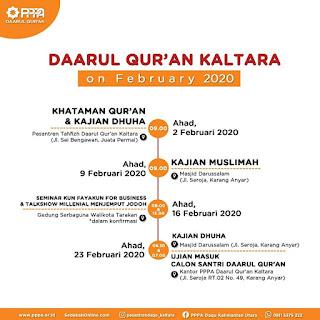 Agenda Bulan Februari 2020 PPPA Daarul Qur'an Kalimantan Utara - Kajian Islam Tarakan