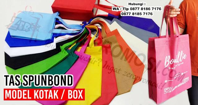 tas spunbond promosi model kotak / box, Tas kotak nasi berbahan Spunbond, Tas Goodie bag Box Nasi ramah lingkungan, Tas Spunbond Model Kotak
