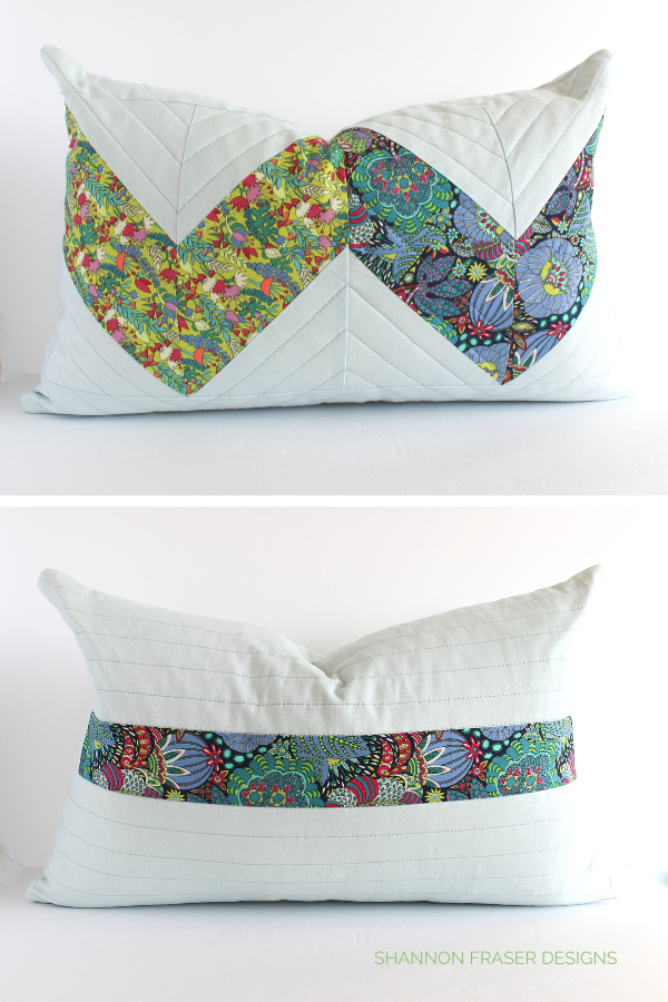 Front and back of the Double Chevron pillow featuring Fantasy + Essex Linen | Shannon Fraser Designs #modernquilting #quiltedcushion #essexlinen #windhamfabrics