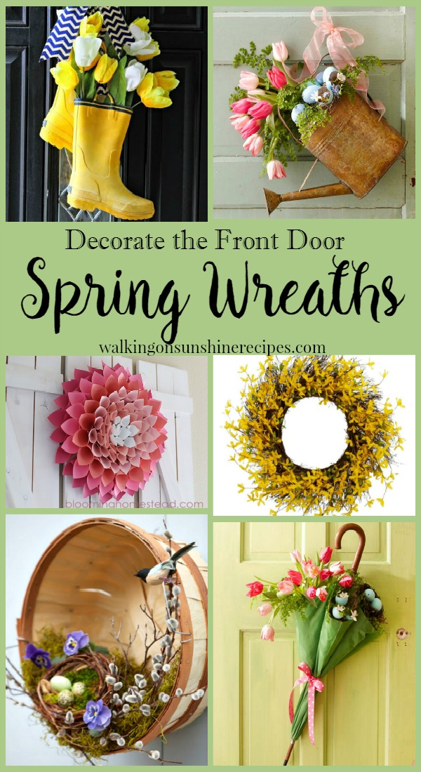 Decorate the front door with Spring Wreaths from Walking on Sunshine