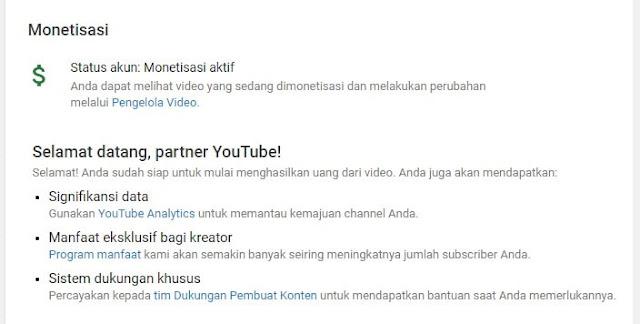 Monetisasi YouTube Diaktifkan