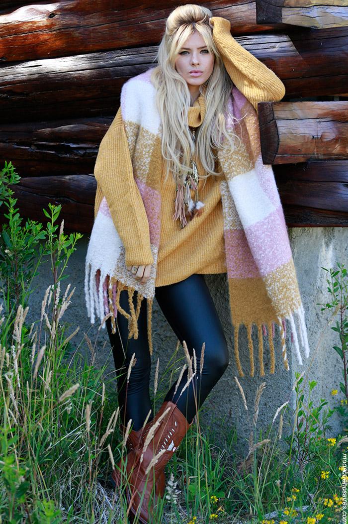 Sweaters y chales tejidos invierno 2019.