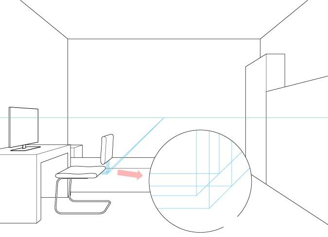 Satu titik perspektif menggambar penempatan sandaran kursi komputer