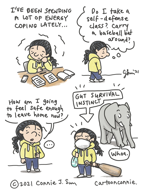 Sketchbook cartoon about survival instinct, trauma, coping, and wanting to feel safe, by Connie Sun, cartoonconnie