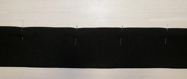 Unión de ambas dobleces de la abertura y sujetada por alfileres