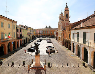 The Piazza Mazzini is the beautiful main square of the town of Guastalla in Emilia-Romagna