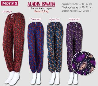 Celana panjang kain motif model aladin - aladn iswara motif 2