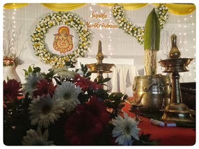simple hindu wedding engagement stage decoration