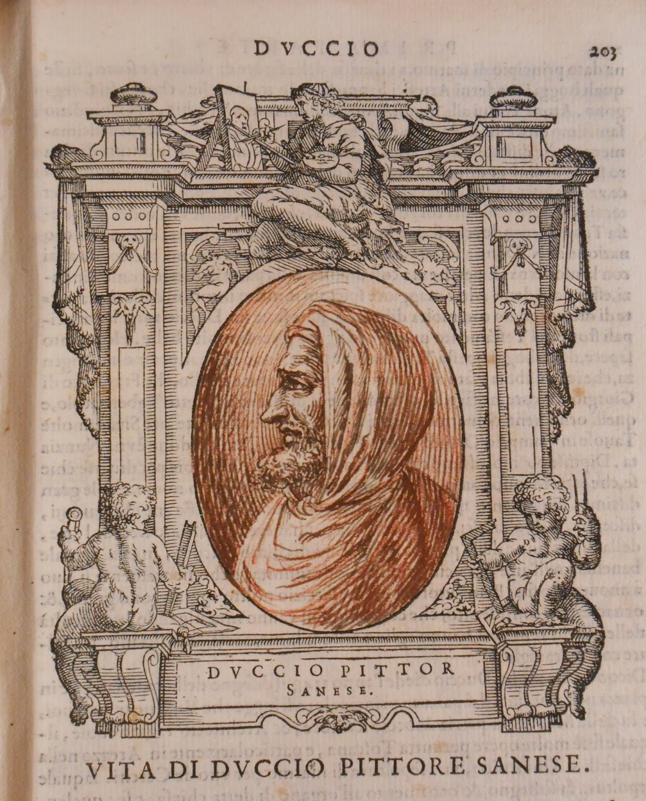 A medallion frame containing a pen sketch of a bearded man.