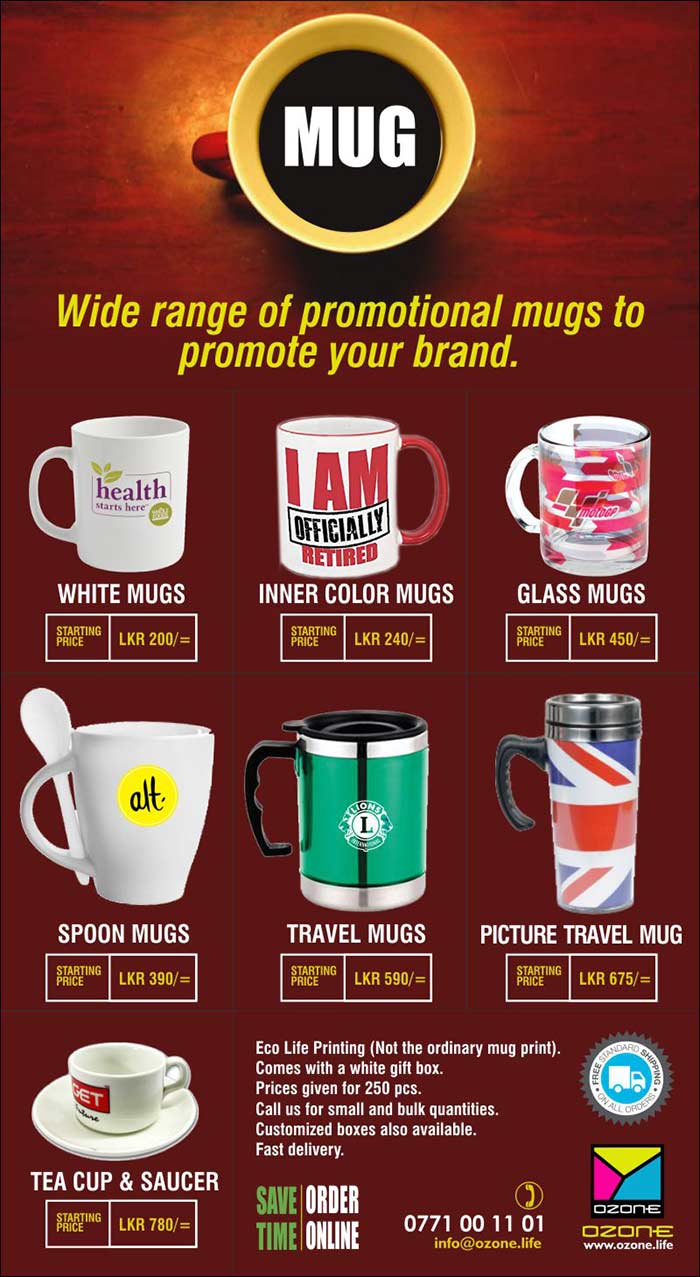 Ozone branding | Wide Range of Mugs to promote your brand with the logo.