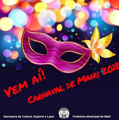 Prefeitura de Mairi divulga programação do Carnaval 2018