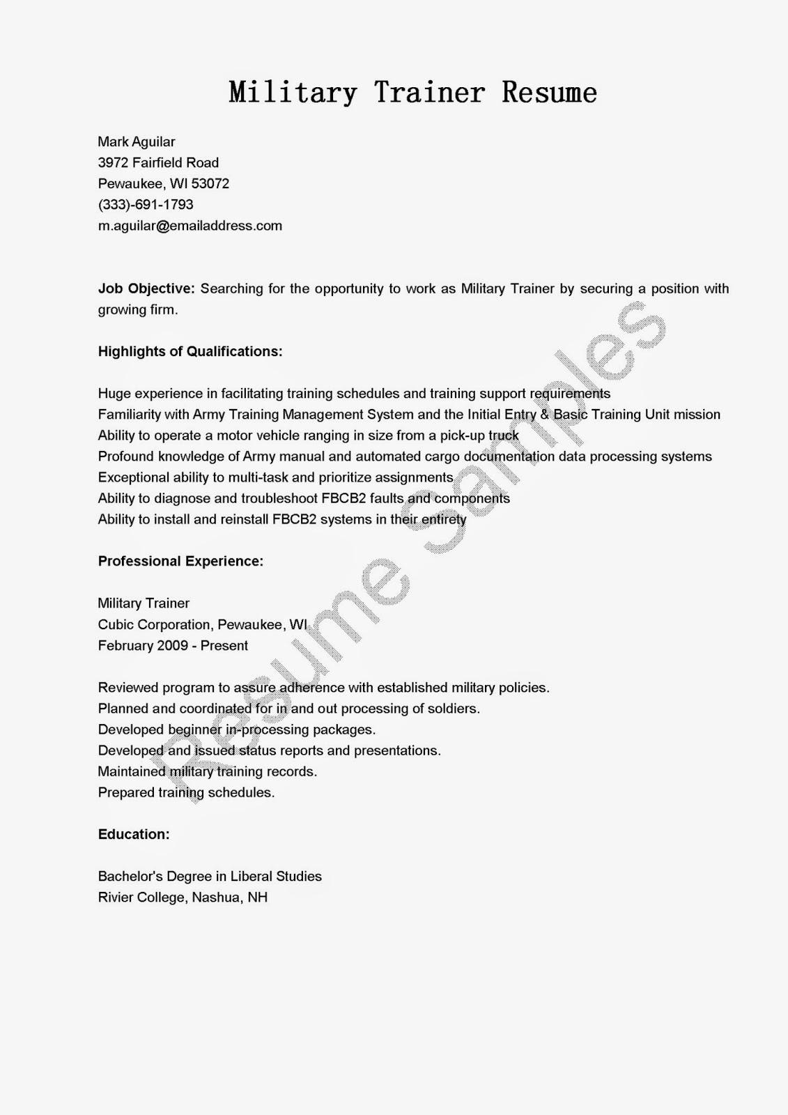 resume samples  military trainer resume sample