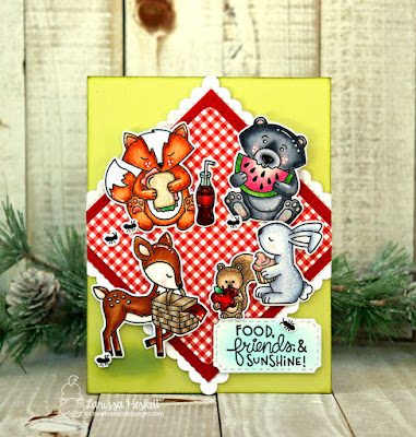 Food, Friends & Sunshine by Larissa Heskett for Newton's Nook Designs using Woodland Picnic Stamp Set + coordinating Dies, Frames Squared Die Set & Framework Die Set
