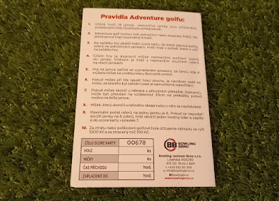 Scorecard from the Adventure Golf course at Bowling Brno