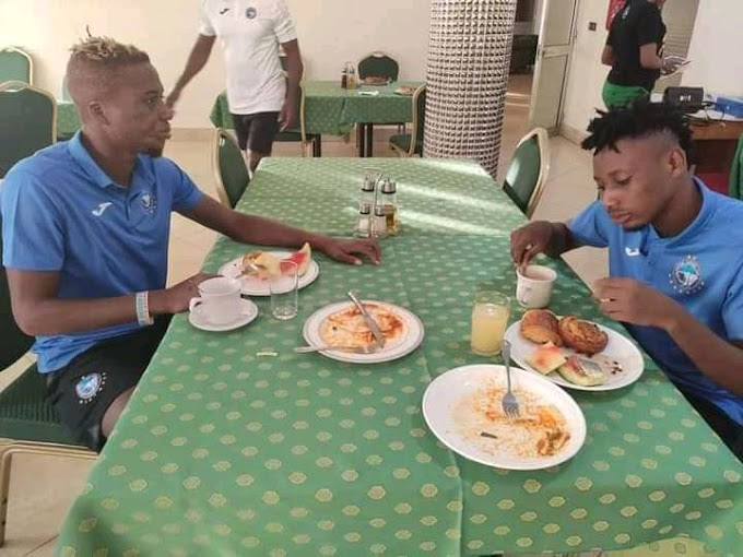 After Winning 0-1 in Burkina Faso, Enyimba Players Enjoys Breakfast With Watermelon