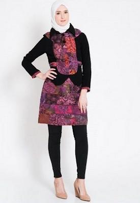Dress batik untuk lebaran kombinasi celana panjang