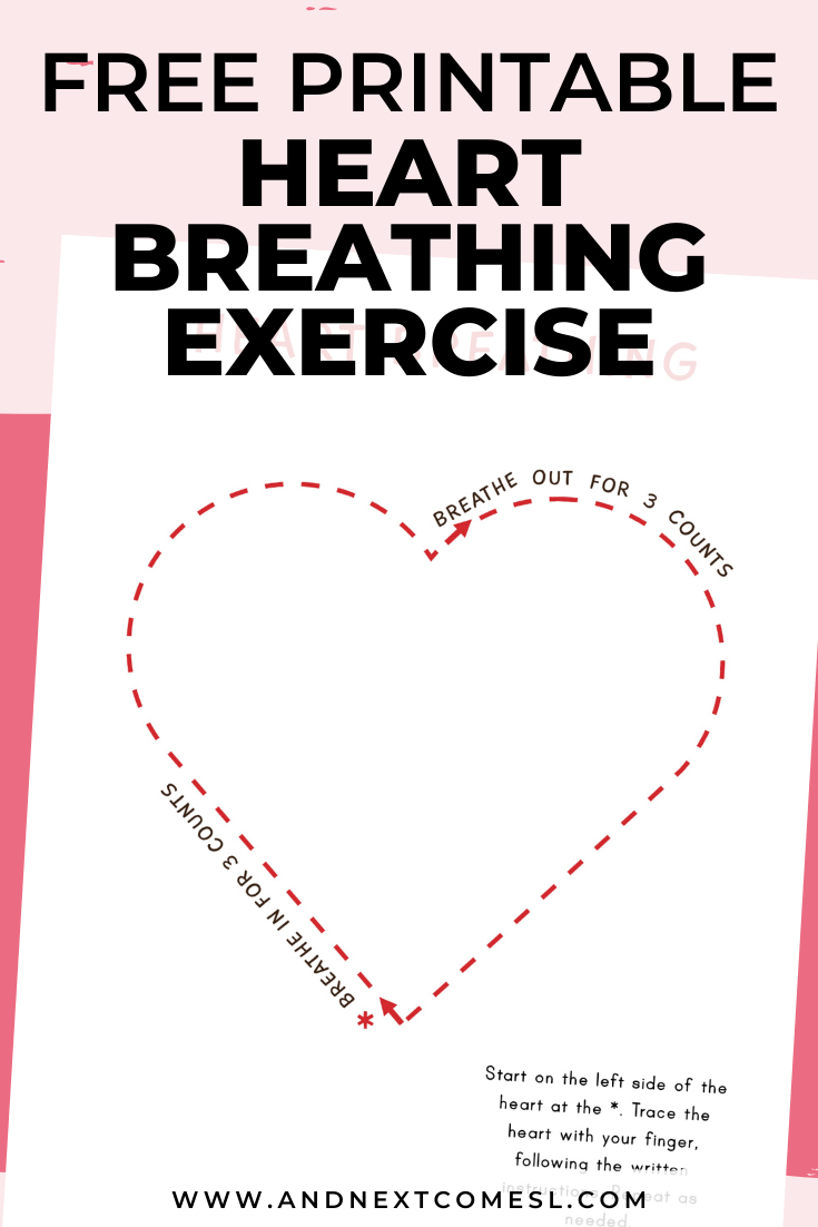 Heart shaped deep breathing exercise for kids with free printable mindfulness poster