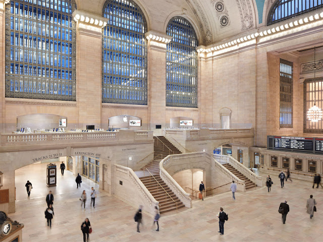 interior tienda apple new york grand central terminal estilo Beaux Arts