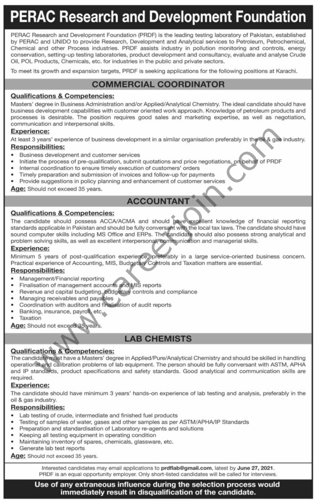 prdflab@gamil.com - PERAC Research & Development Foundation PRDF Jobs 2021 in Pakistan