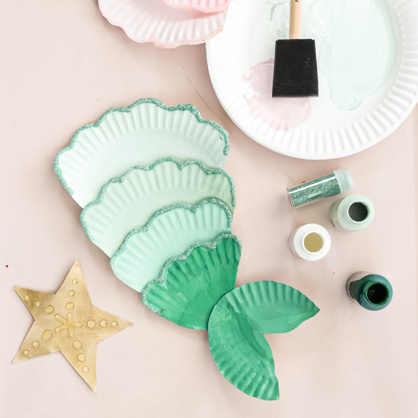 Paper Plate Craft mermaid tail