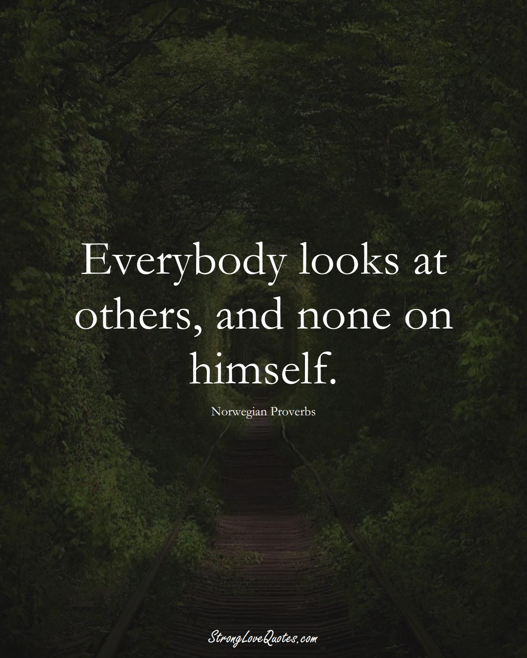 Everybody looks at others, and none on himself. (Norwegian Sayings);  #EuropeanSayings