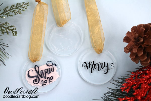 How to Make Acrylic Ornaments 3 Ways! Hey friends, I've just discovered acrylic blanks and I love them. Let me show you three ways to create an acrylic ornament. Which ornament is your favorite?  Decorate your Christmas tree, make gifts for the neighbors or make a few to sell for the holidays! These ornaments are minimalistic and classy. Let's get started! Acrylic Ornaments done 3 ways: #1: Hand Lettering with Marker and Paint #2: Permanent Vinyl cut with Cricut #3: Engraving with Cricut Maker