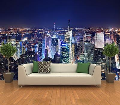 fototapet new york natt skyline fondtapet